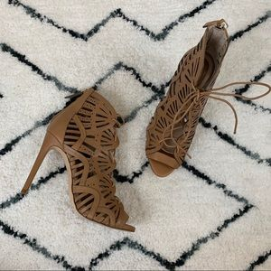 Zara Brown Faux Leather Laser Cut Lace Up Heels